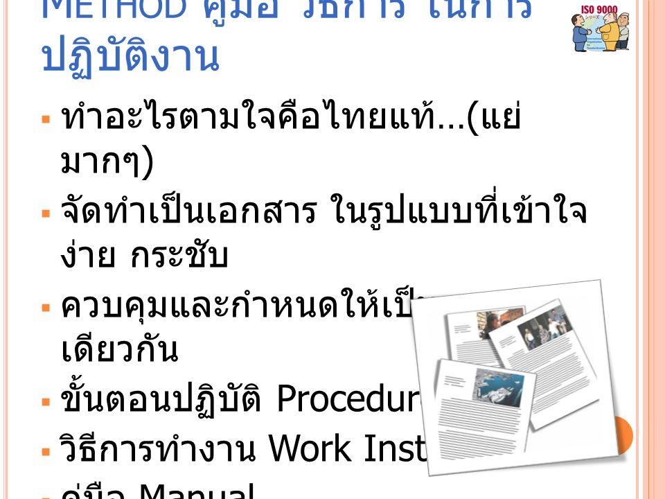 M ETHOD คู่มือ วิธีการ ในการ ปฏิบัติงาน  ทำอะไรตามใจคือไทยแท้ …( แย่ มากๆ )  จัดทำเป็นเอกสาร ในรูปแบบที่เข้าใจ ง่าย กระชับ  ควบคุมและกำหนดให้เป็นมาตรฐาน เดียวกัน  ขั้นตอนปฏิบัติ Procedure  วิธีการทำงาน Work Instruction  คู่มือ Manual