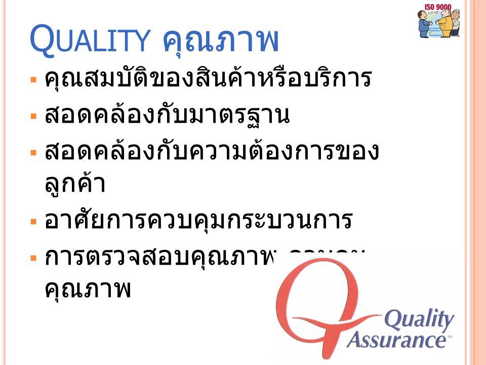 Q UALITY คุณภาพ  คุณสมบัติของสินค้าหรือบริการ  สอดคล้องกับมาตรฐาน  สอดคล้องกับความต้องการของ ลูกค้า  อาศัยการควบคุมกระบวนการ  การตรวจสอบคุณภาพ ควบคุม คุณภาพ