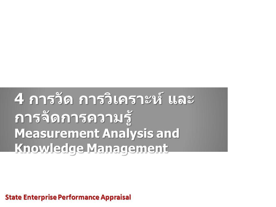 4 การวัด การวิเคราะห์ และ การจัดการความรู้ Measurement Analysis and Knowledge Management State Enterprise Performance Appraisal