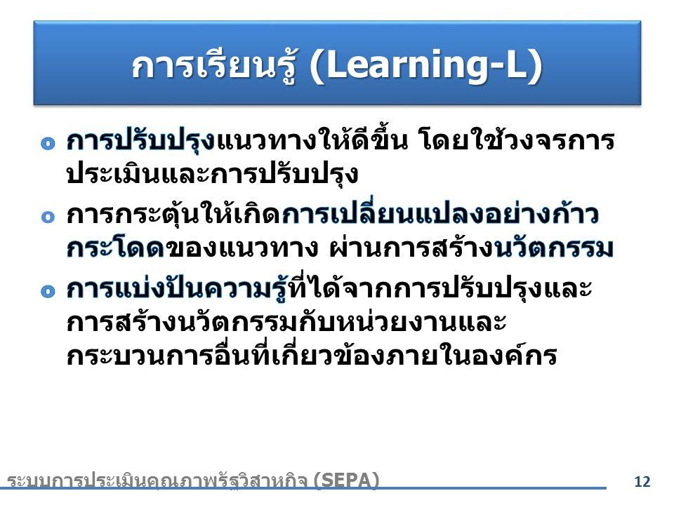 การเรียนรู้ (Learning-L) 12 ระบบการประเมินคุณภาพรัฐวิสาหกิจ (SEPA)