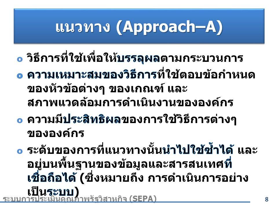 แนวทาง (Approach–A) 8 ระบบการประเมินคุณภาพรัฐวิสาหกิจ (SEPA)