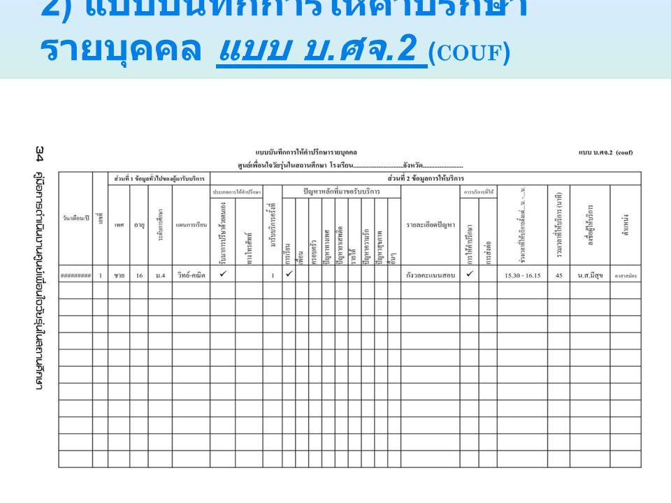 2) แบบบันทึกการให้คำปรึกษา รายบุคคล แบบ บ. ศจ.2 ( COUF )