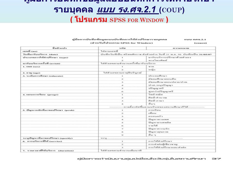 คู่มือการบันทึกข้อมูลแบบบันทึกการให้คำปรึกษา รายบุคคล แบบ รง. ศจ.2.1 ( COUP ) ( โปรแกรม SPSS FOR W INDOW )
