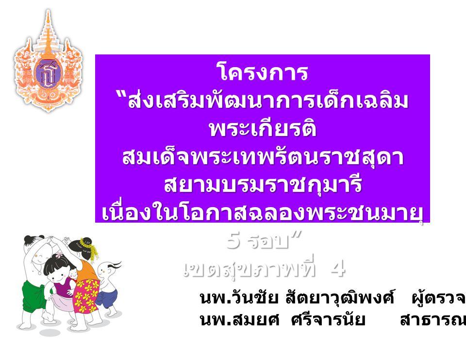 โครงการ ส่งเสริมพัฒนาการเด็กเฉลิม พระเกียรติ ส่งเสริมพัฒนาการเด็กเฉลิม พระเกียรติ สมเด็จพระเทพรัตนราชสุดา สยามบรมราชกุมารี เนื่องในโอกาสฉลองพระชนมายุ 5 รอบ เขตสุขภาพที่ 4 นพ.