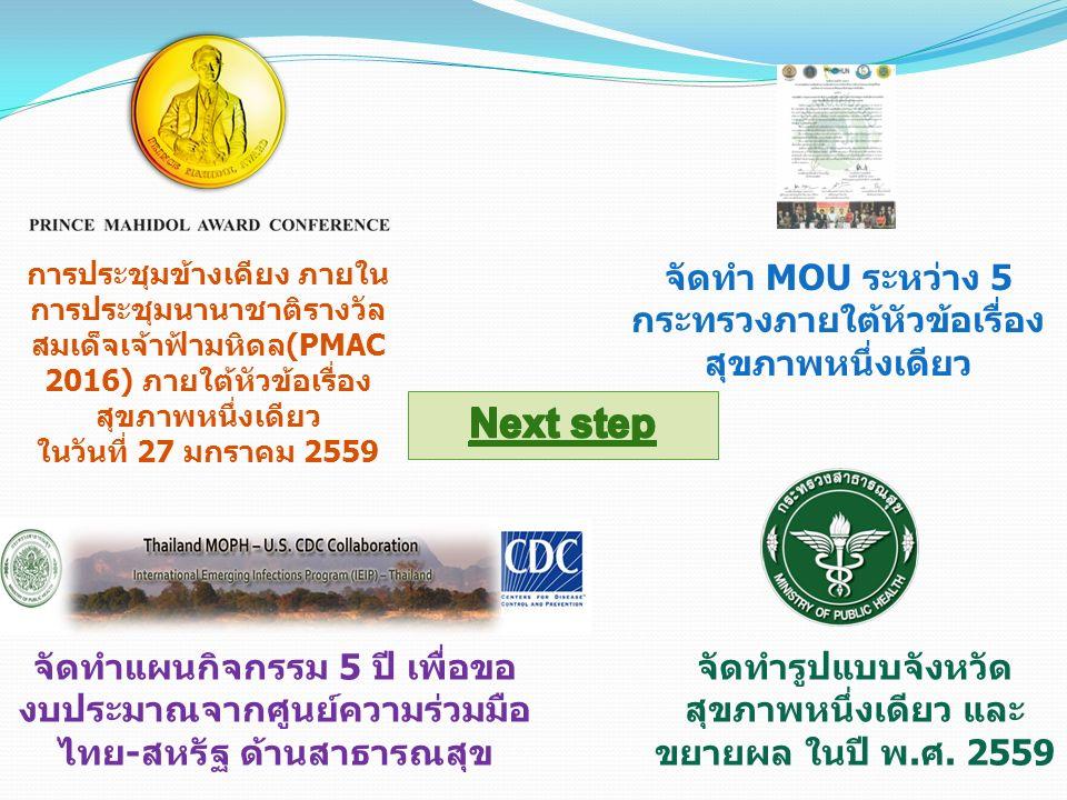 การประชุมข้างเคียง ภายใน การประชุมนานาชาติรางวัล สมเด็จเจ้าฟ้ามหิดล(PMAC 2016) ภายใต้หัวข้อเรื่อง สุขภาพหนึ่งเดียว ในวันที่ 27 มกราคม 2559 จัดทำ MOU ระหว่าง 5 กระทรวงภายใต้หัวข้อเรื่อง สุขภาพหนึ่งเดียว จัดทำแผนกิจกรรม 5 ปี เพื่อขอ งบประมาณจากศูนย์ความร่วมมือ ไทย-สหรัฐ ด้านสาธารณสุข จัดทำรูปแบบจังหวัด สุขภาพหนึ่งเดียว และ ขยายผล ในปี พ.ศ.