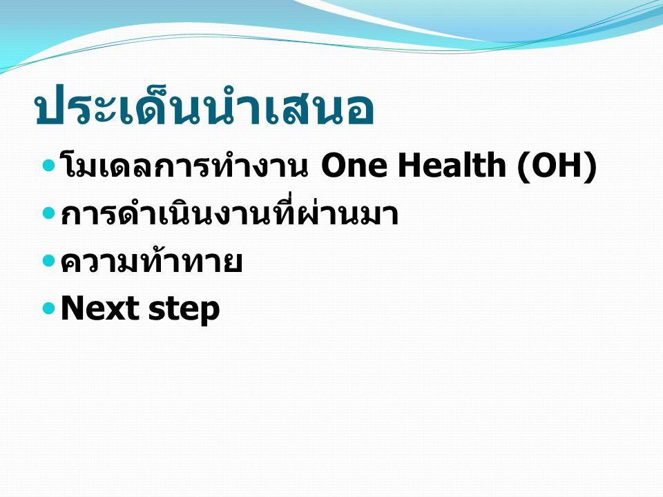 ประเด็นนำเสนอ โมเดลการทำงาน One Health (OH) การดำเนินงานที่ผ่านมา ความท้าทาย Next step