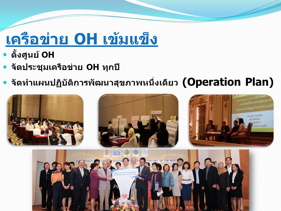 เครือข่าย OH เข้มแข็ง ตั้งศูนย์ OH จัดประชุมเครือข่าย OH ทุกปี จัดทำแผนปฏิบัติการพัฒนาสุขภาพหนึ่งเดียว (Operation Plan)