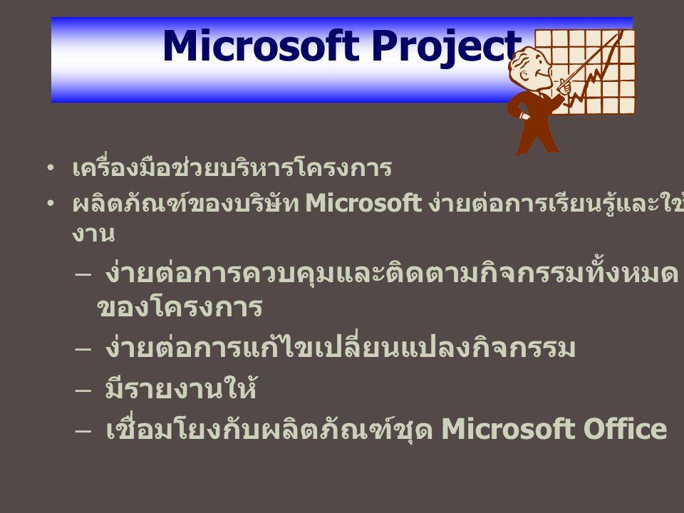 Microsoft Project เครื่องมือช่วยบริหารโครงการ ผลิตภัณฑ์ของบริษัท Microsoft ง่ายต่อการเรียนรู้และใช้ งาน – ง่ายต่อการควบคุมและติดตามกิจกรรมทั้งหมด ของโครงการ – ง่ายต่อการแก้ไขเปลี่ยนแปลงกิจกรรม – มีรายงานให้ – เชื่อมโยงกับผลิตภัณฑ์ชุด Microsoft Office