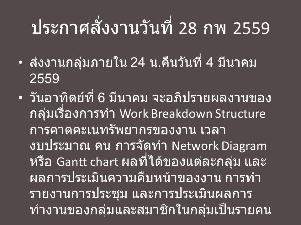 ประกาศสั่งงานวันที่ 28 กพ 2559 ส่งงานกลุ่มภายใน 24 น.