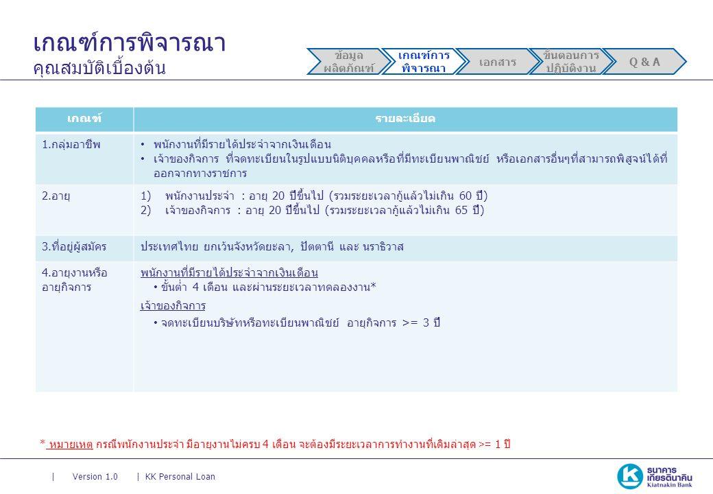 || Version 1.0KK Personal Loan เกณฑ์การพิจารณา คุณสมบัติเบื้องต้น ข้อมูล ผลิตภัณฑ์ เกณฑ์การ พิจารณา เอกสาร ขั้นตอนการ ปฏิบัติงาน Q & A เกณฑ์รายละเอียด 1.กลุ่มอาชีพ พนักงานที่มีรายได้ประจำจากเงินเดือน เจ้าของกิจการ ที่จดทะเบียนในรูปแบบนิติบุคคลหรือที่มีทะเบียนพาณิชย์ หรือเอกสารอื่นๆที่สามารถพิสูจน์ได้ที่ ออกจากทางราชการ 2.อายุ1)พนักงานประจำ : อายุ 20 ปีขึ้นไป (รวมระยะเวลากู้แล้วไม่เกิน 60 ปี) 2)เจ้าของกิจการ : อายุ 20 ปีขึ้นไป (รวมระยะเวลากู้แล้วไม่เกิน 65 ปี) 3.ที่อยู่ผู้สมัครประเทศไทย ยกเว้นจังหวัดยะลา, ปัตตานี และ นราธิวาส 4.อายุงานหรือ อายุกิจการ พนักงานที่มีรายได้ประจำจากเงินเดือน ขั้นต่ำ 4 เดือน และผ่านระยะเวลาทดลองงาน* เจ้าของกิจการ จดทะเบียนบริษัทหรือทะเบียนพาณิชย์ อายุกิจการ >= 3 ปี * หมายเหตุ กรณีพนักงานประจำ มีอายุงานไม่ครบ 4 เดือน จะต้องมีระยะเวลาการทำงานที่เดิมล่าสุด >= 1 ปี