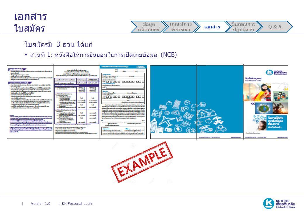 || Version 1.0KK Personal Loan เอกสาร ใบสมัคร ใบสมัครมี 3 ส่วน ได้แก่  ส่วนที่ 1: หนังสือให้การยินยอมในการเปิดเผยข้อมูล (NCB) ข้อมูล ผลิตภัณฑ์ เกณฑ์การ พิจารณา เอกสาร ขั้นตอนการ ปฏิบัติงาน Q & A