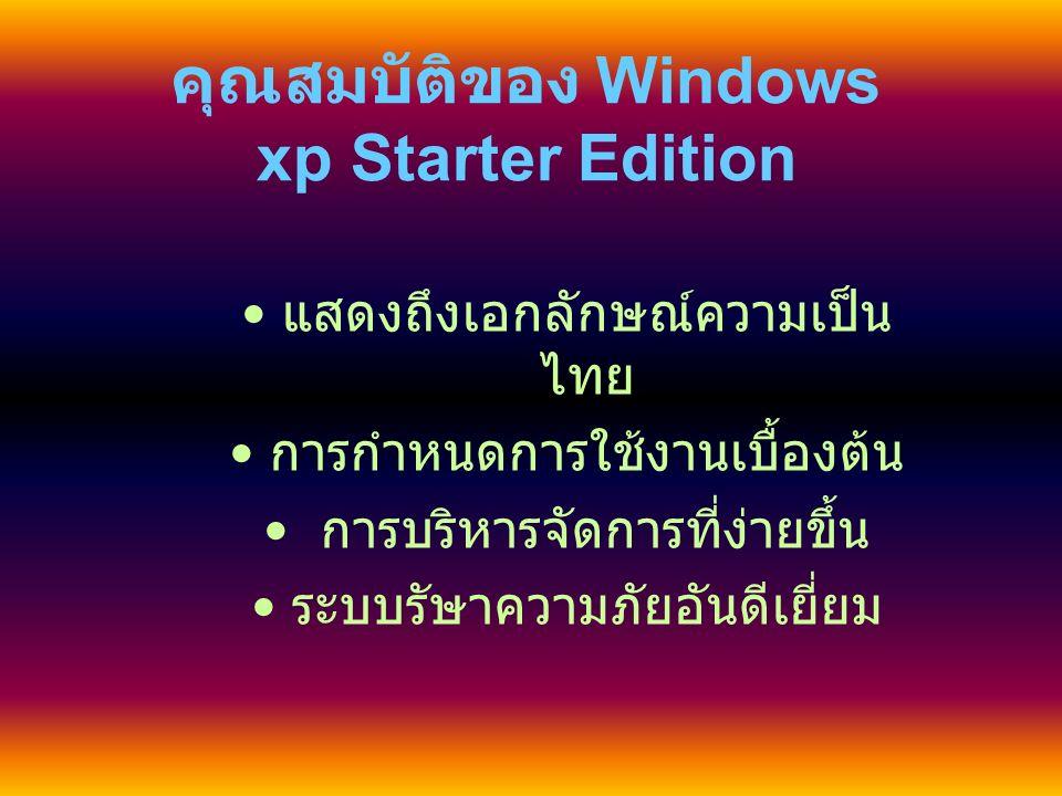 เริ่มต้นการใช้งาน Windows Xp Starter Edition หลังจากเป็ดเครื่องและเข้าสู่หน้าจอ วินโดสว์เป็นครั้ง คลิ้กที่ปุ่ม เริ่ม บนทูล บาร์ด้านซ้ายมือก็จะพบรายชื่อโปรแกรมที่ พร้อมใช้งานได้ทันที่ สำหรับการอ่านข้อมูลจากแผ่นฟลอบปี้ ดิสก์และแผ่นซีดีรอมนั้น ให้เข้าที่ไอคอน คอมพิวเตอร์ของฉัน ก็จะพบกับหน้าตา การทำงานที่ทำหน้าที่ในการจัดการดิสก์ ไดรฟ์และซีดีรอม คลิ้กที่ไดรฟ์ที่ต้องการ ได้ทันที่
