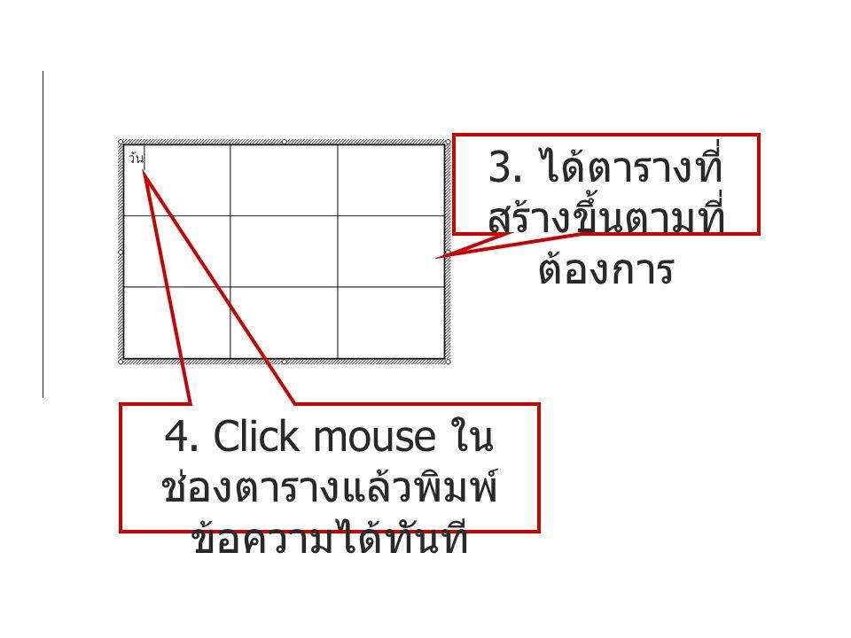 3. ได้ตารางที่ สร้างขึ้นตามที่ ต้องการ 4. Click mouse ใน ช่องตารางแล้วพิมพ์ ข้อความได้ทันที