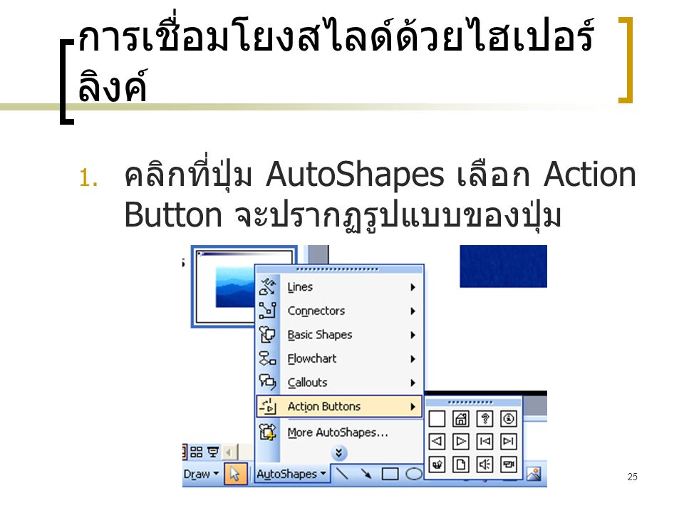 25 การเชื่อมโยงสไลด์ด้วยไฮเปอร์ ลิงค์  คลิกที่ปุ่ม AutoShapes เลือก Action Button จะปรากฏรูปแบบของปุ่ม
