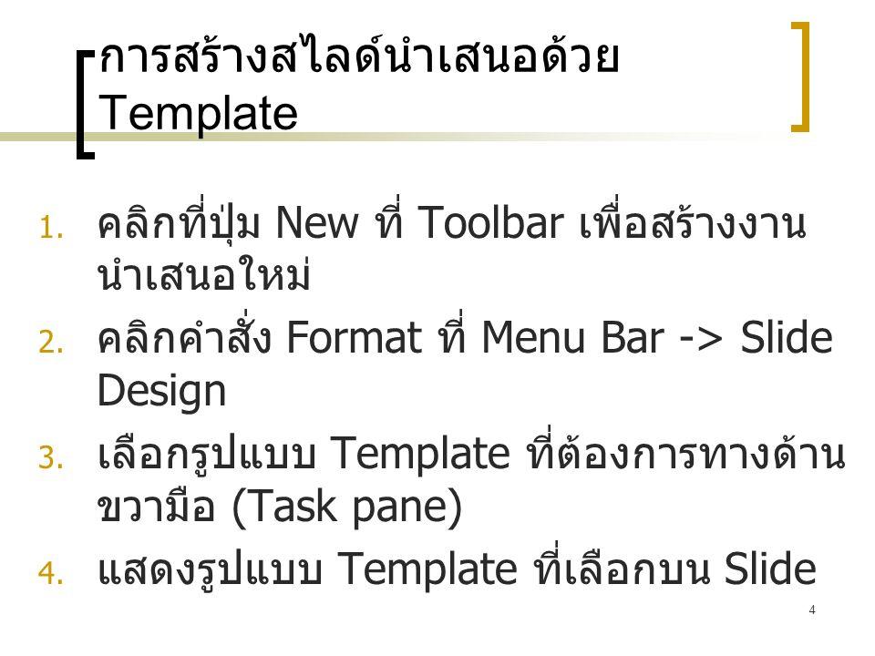 4 การสร้างสไลด์นำเสนอด้วย Template  คลิกที่ปุ่ม New ที่ Toolbar เพื่อสร้างงาน นำเสนอใหม่  คลิกคำสั่ง Format ที่ Menu Bar -> Slide Design  เลือกร