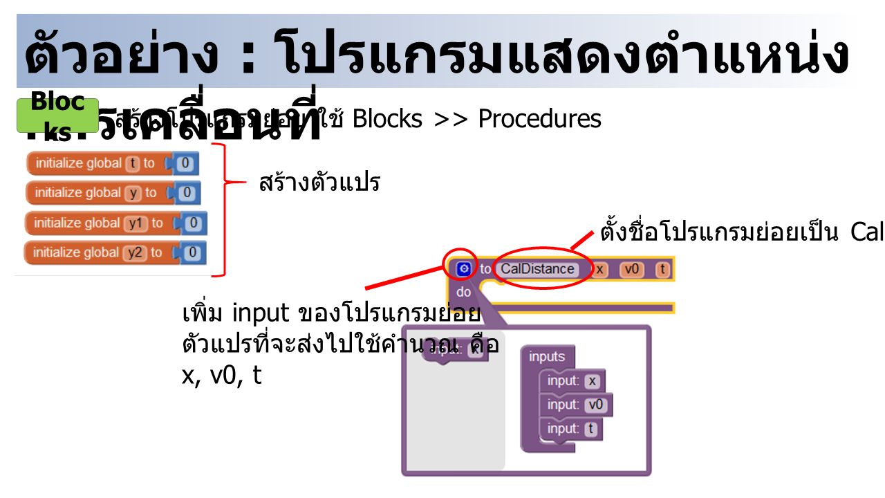 ตัวอย่าง : โปรแกรมแสดงตำแหน่ง การเคลื่อนที่ Bloc ks สร้างโปรแกรมย่อย ใช้ Blocks >> Procedures ตั้งชื่อโปรแกรมย่อยเป็น CalDistance เพิ่ม input ของโปรแกรมย่อย ตัวแปรที่จะส่งไปใช้คำนวณ คือ x, v0, t สร้างตัวแปร