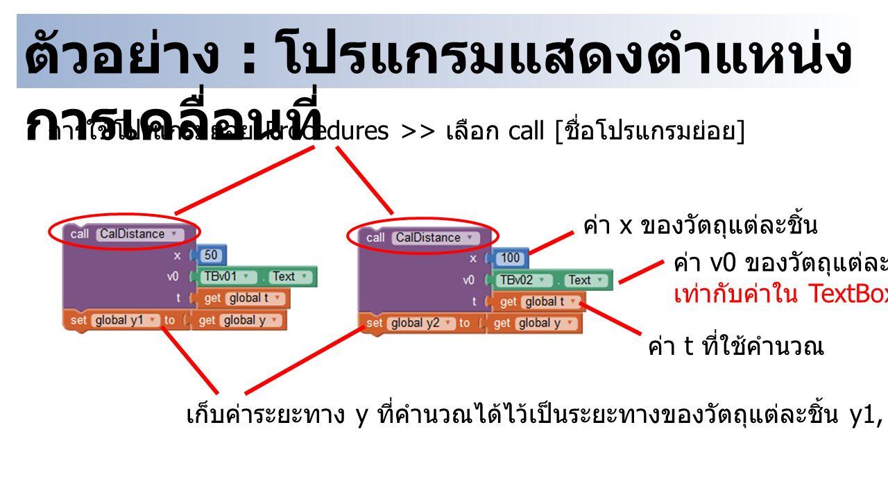 ตัวอย่าง : โปรแกรมแสดงตำแหน่ง การเคลื่อนที่ การใช้โปรแกรมย่อย Procedures >> เลือก call [ ชื่อโปรแกรมย่อย ] ค่า x ของวัตถุแต่ละชิ้น ค่า v0 ของวัตถุแต่ล