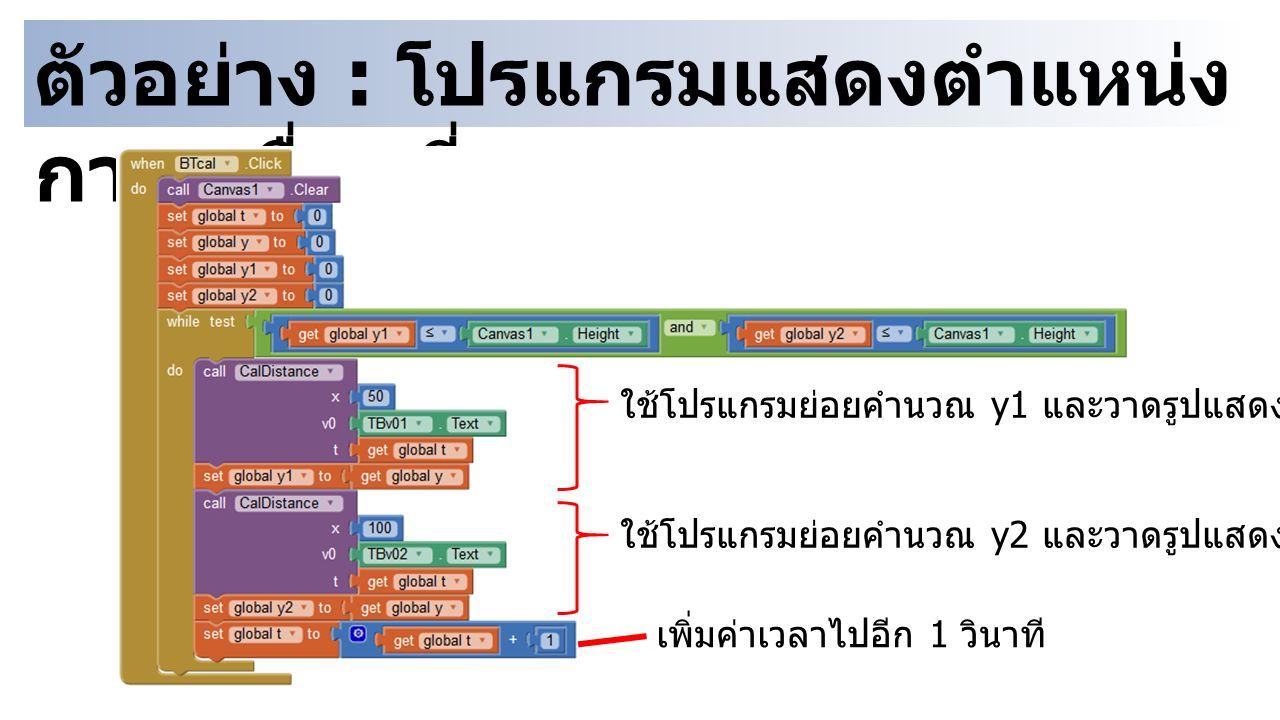 ตัวอย่าง : โปรแกรมแสดงตำแหน่ง การเคลื่อนที่ ใช้โปรแกรมย่อยคำนวณ y1 และวาดรูปแสดงตำแหน่ง ใช้โปรแกรมย่อยคำนวณ y2 และวาดรูปแสดงตำแหน่ง เพิ่มค่าเวลาไปอีก