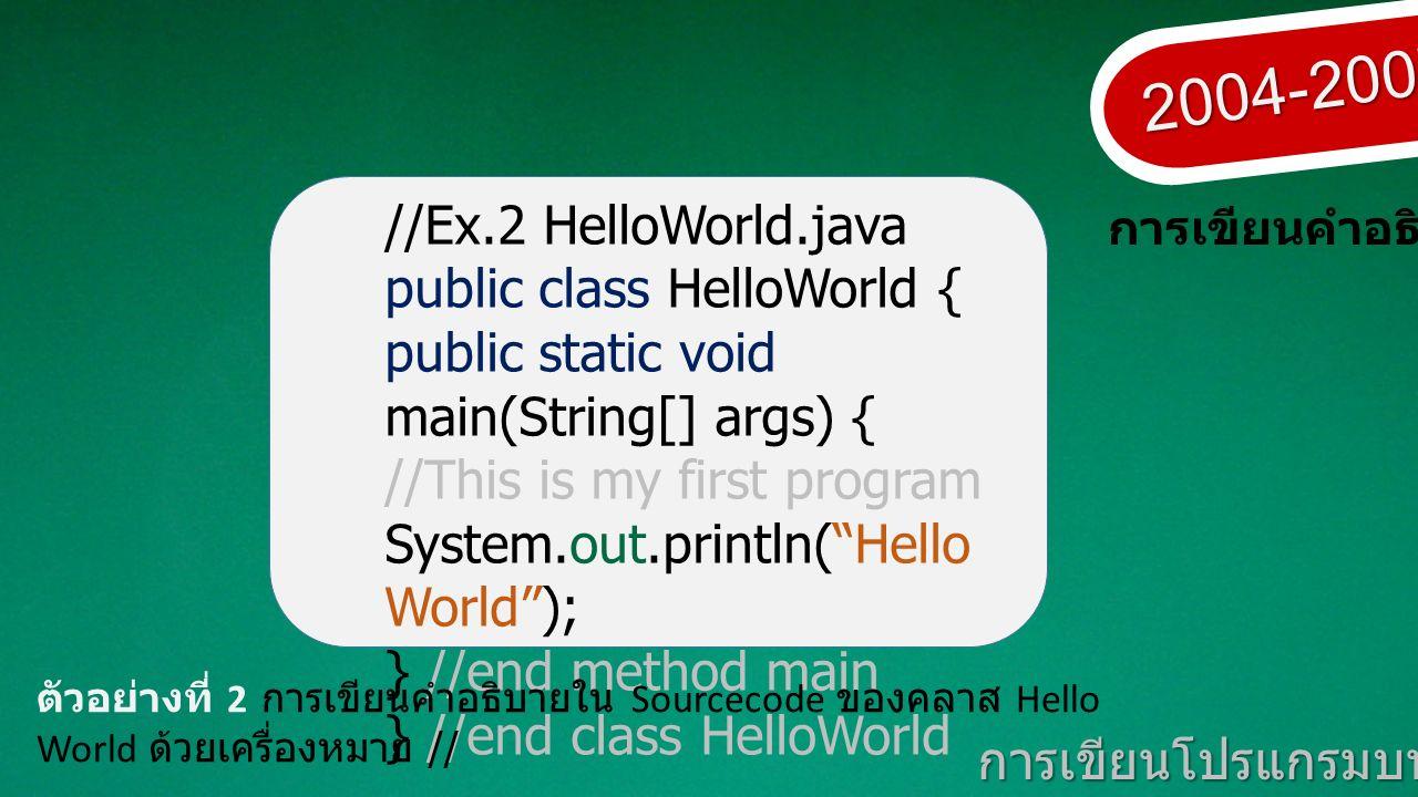 2004-2007 การเขียนโปรแกรมบนมาตรฐานเปิด การเขียนคำอธิบาย //Ex.2 HelloWorld.java public class HelloWorld { public static void main(String[] args) { //This is my first program System.out.println( Hello World ); } //end method main } //end class HelloWorld ตัวอย่างที่ 2 การเขียนคำอธิบายใน Sourcecode ของคลาส Hello World ด้วยเครื่องหมาย //