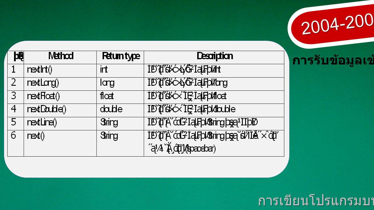2004-2007 การเขียนโปรแกรมบนมาตรฐานเปิด การรับข้อมูลเข้า