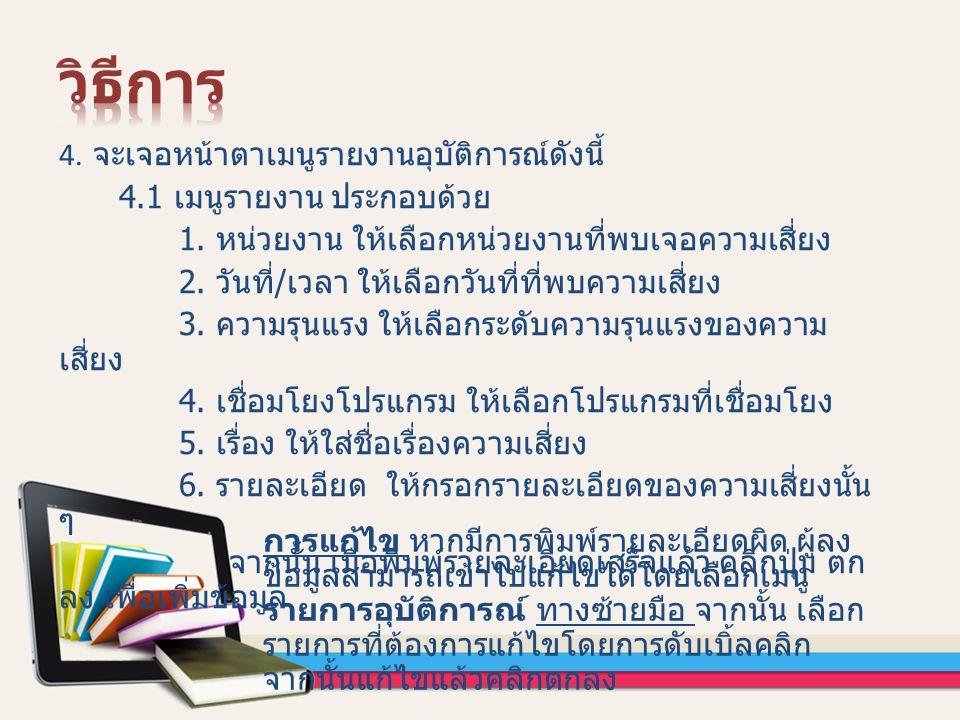 4. จะเจอหน้าตาเมนูรายงานอุบัติการณ์ดังนี้ 4.1 เมนูรายงาน ประกอบด้วย 1.