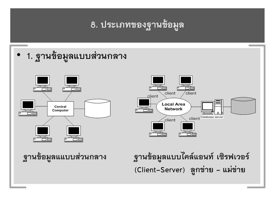8. ประเภทของฐานข้อมูล 1.