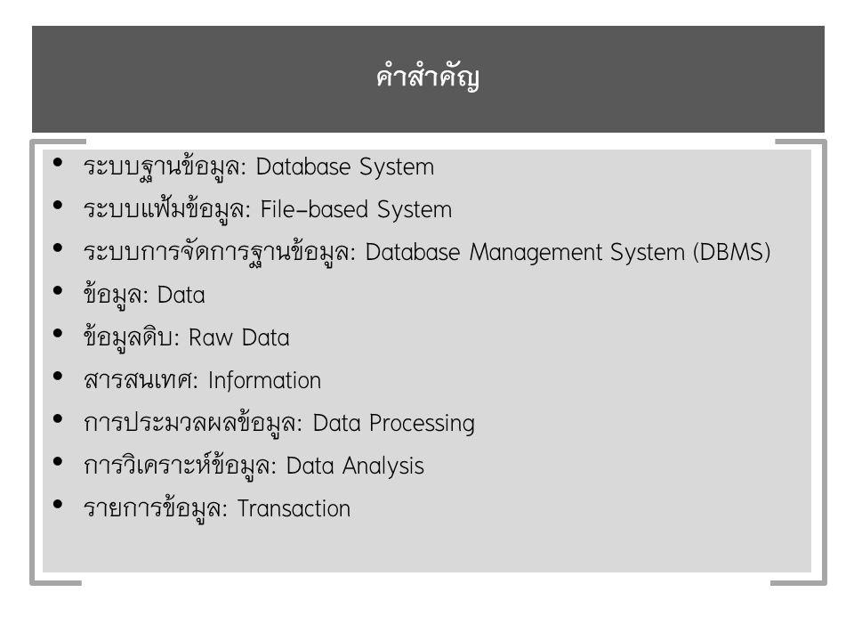 คำสำคัญ ระบบฐานข้อมูล: Database System ระบบแฟ้มข้อมูล: File-based System ระบบการจัดการฐานข้อมูล: Database Management System (DBMS) ข้อมูล: Data ข้อมูลดิบ: Raw Data สารสนเทศ: Information การประมวลผลข้อมูล: Data Processing การวิเคราะห์ข้อมูล: Data Analysis รายการข้อมูล: Transaction