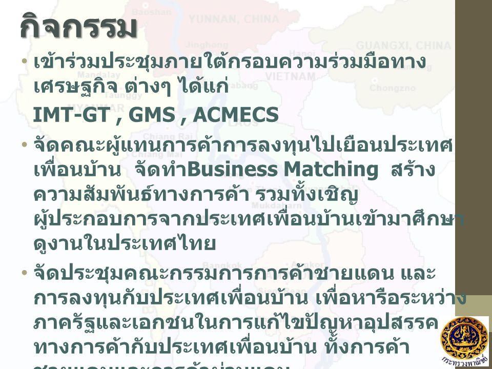 กิจกรรม เข้าร่วมประชุมภายใต้กรอบความร่วมมือทาง เศรษฐกิจ ต่างๆ ได้แก่ IMT-GT, GMS, ACMECS จัดคณะผู้แทนการค้าการลงทุนไปเยือนประเทศ เพื่อนบ้าน จัดทำ Business Matching สร้าง ความสัมพันธ์ทางการค้า รวมทั้งเชิญ ผู้ประกอบการจากประเทศเพื่อนบ้านเข้ามาศึกษา ดูงานในประเทศไทย จัดประชุมคณะกรรมการการค้าชายแดน และ การลงทุนกับประเทศเพื่อนบ้าน เพื่อหารือระหว่าง ภาครัฐและเอกชนในการแก้ไขปัญหาอุปสรรค ทางการค้ากับประเทศเพื่อนบ้าน ทั้งการค้า ชายแดนและการค้าผ่านแดน การลงพื้นที่ชายแดนเพื่อประชุมร่วมกับภาครัฐ และเอกชน เพื่อแก้ไขปัญหาการค้าร่วมกันใน พื้นที่