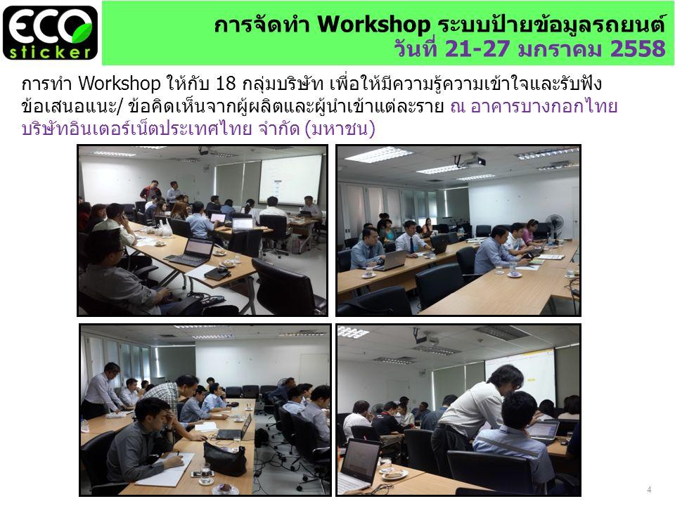 การจัดทำ Workshop ระบบป้ายข้อมูลรถยนต์ วันที่ 21-27 มกราคม 2558 การทำ Workshop ให้กับ 18 กลุ่มบริษัท เพื่อให้มีความรู้ความเข้าใจและรับฟัง ข้อเสนอแนะ/ ข้อคิดเห็นจากผู้ผลิตและผู้นำเข้าแต่ละราย ณ อาคารบางกอกไทย บริษัทอินเตอร์เน็ตประเทศไทย จำกัด (มหาชน) 4