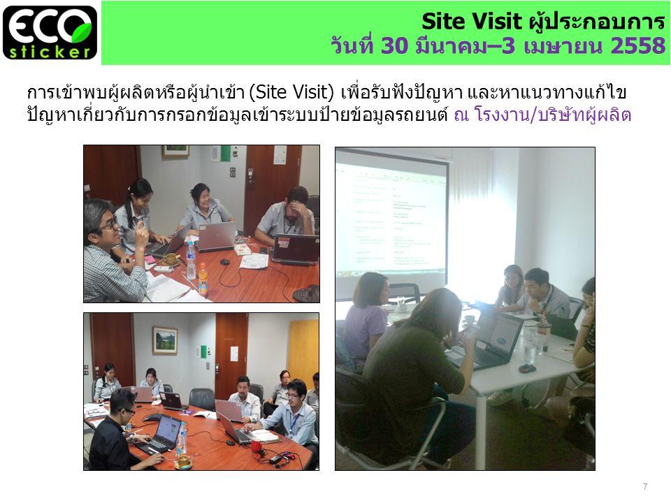 7 Site Visit ผู้ประกอบการ วันที่ 30 มีนาคม–3 เมษายน 2558 การเข้าพบผู้ผลิตหรือผู้นำเข้า (Site Visit) เพื่อรับฟังปัญหา และหาแนวทางแก้ไข ปัญหาเกี่ยวกับการกรอกข้อมูลเข้าระบบป้ายข้อมูลรถยนต์ ณ โรงงาน/บริษัทผู้ผลิต