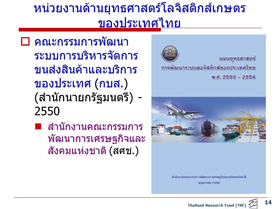 14 Thailand Research Fund (TRF)  คณะกรรมการพัฒนา ระบบการบริหารจัดการ ขนส่งสินค้าและบริการ ของประเทศ (กบส.) (สำนักนายกรัฐมนตรี) - 2550 สำนักงานคณะกรรมการ พัฒนาการเศรษฐกิจและ สังคมแห่งชาติ (สศช.) หน่วยงานด้านยุทธศาสตร์โลจิสติกส์เกษตร ของประเทศไทย