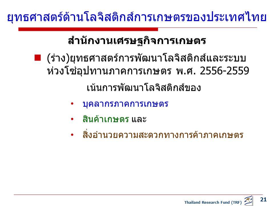 21 Thailand Research Fund (TRF) สำนักงานเศรษฐกิจการเกษตร (ร่าง)ยุทธศาสตร์การพัฒนาโลจิสติกส์และระบบ ห่วงโซ่อุปทานภาคการเกษตร พ.ศ.
