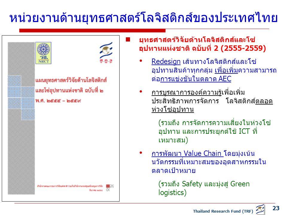 23 Thailand Research Fund (TRF) ยุทธศาสตร์วิจัยด้านโลจิสติกส์และโซ่ อุปทานแห่งชาติ ฉบับที่ 2 (2555-2559) Redesign เส้นทางโลจิสติกส์และโซ่ อุปทานสินค้าทุกกลุ่ม เพื่อเพิ่มความสามารถ ต่อการแข่งขันในตลาด AEC การบูรณาการองค์ความรู้เพื่อเพิ่ม ประสิทธิภาพการจัดการ โลจิสติกส์ตลอด ห่วงโซ่อุปทาน (รวมถึง การจัดการความเสี่ยงในห่วงโซ่ อุปทาน และการประยุกต์ใช้ ICT ที่ เหมาะสม) การพัฒนา Value Chain โดยมุ่งเน้น นวัตกรรมที่เหมาะสมของอุตสาหกรรมใน ตลาดเป้าหมาย (รวมถึง Safety และมุ่งสู่ Green logistics) หน่วยงานด้านยุทธศาสตร์โลจิสติกส์ของประเทศไทย