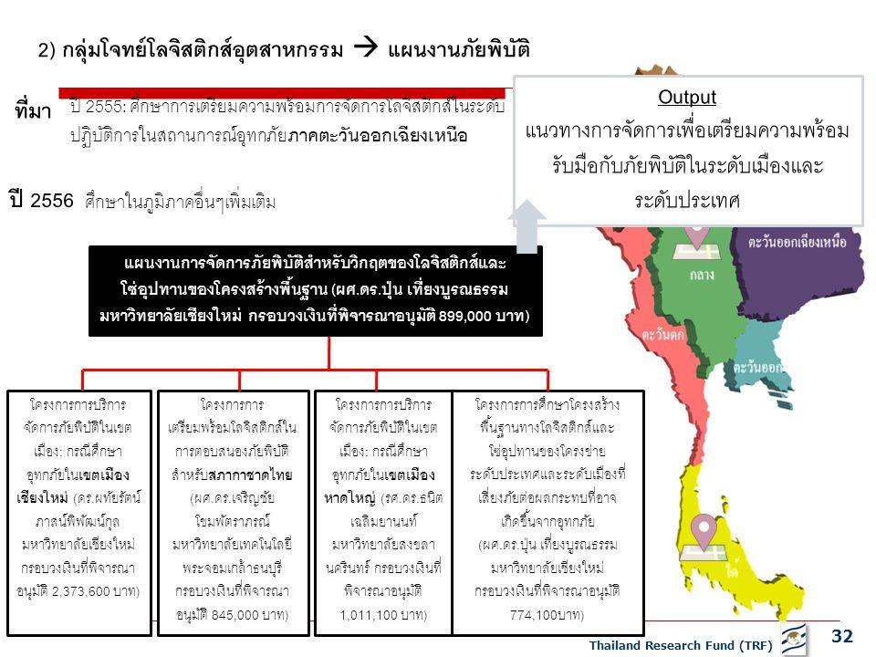 32 Thailand Research Fund (TRF) แผนงานการจัดการภัยพิบัติสำหรับวิกฤตของโลจิสติกส์และ โซ่อุปทานของโครงสร้างพื้นฐาน (ผศ.ดร.ปุ่น เที่ยงบูรณธรรม มหาวิทยาลัยเชียงใหม่ กรอบวงเงินที่พิจารณาอนุมัติ 899,000 บาท) โครงการการบริการ จัดการภัยพิบัติในเขต เมือง: กรณีศึกษา อุทกภัยใน เขตเมือง เชียงใหม่ (ดร.ผทัยรัตน์ ภาสน์พิพัฒน์กุล มหาวิทยาลัยเชียงใหม่ กรอบวงเงินที่พิจารณา อนุมัติ 2,373,600 บาท) ปี 2555: ศึกษาการเตรียมความพร้อมการจัดการโลจิสติกส์ในระดับ ปฏิบัติการในสถานการณ์อุทกภัย ภาคตะวันออกเฉียงเหนือ 2) กลุ่มโจทย์โลจิสติกส์อุตสาหกรรม  แผนงานภัยพิบัติ ที่มา ปี 2556 ศึกษาในภูมิภาคอื่นๆเพิ่มเติม โครงการการ เตรียมพร้อมโลจิสติกส์ใน การตอบสนองภัยพิบัติ สำหรับ สภากาชาดไทย (ผศ.ดร.เจริญชัย โขมพัตราภรณ์ มหาวิทยาลัยเทคโนโลยี พระจอมเกล้าธนบุรี กรอบวงเงินที่พิจารณา อนุมัติ 845,000 บาท) โครงการการบริการ จัดการภัยพิบัติในเขต เมือง: กรณีศึกษา อุทกภัยใน เขตเมือง หาดใหญ่ (รศ.ดร.ธนิต เฉลิมยานนท์ มหาวิทยาลัยสงขลา นครินทร์ กรอบวงเงินที่ พิจารณาอนุมัติ 1,011,100 บาท) โครงการการศึกษาโครงสร้าง พื้นฐานทางโลจิสติกส์และ โซ่อุปทานของโครงข่าย ระดับประเทศและระดับเมืองที่ เสี่ยงภัยต่อผลกระทบที่อาจ เกิดขึ้นจากอุทกภัย (ผศ.ดร.ปุ่น เที่ยงบูรณธรรม มหาวิทยาลัยเชียงใหม่ กรอบวงเงินที่พิจารณาอนุมัติ 774,100บาท) Output แนวทางการจัดการเพื่อเตรียมความพร้อม รับมือกับภัยพิบัติในระดับเมืองและ ระดับประเทศ