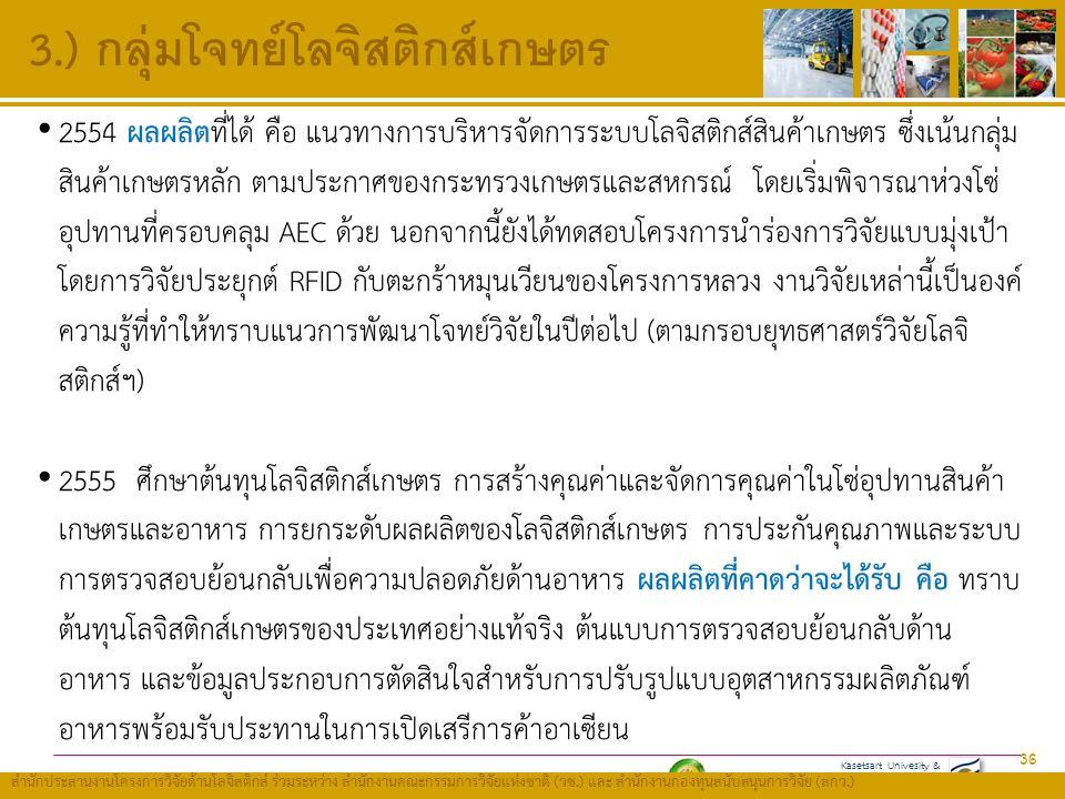Kasetsart Univesity & Thailand Research Fund (TRF) สำนักประสานงานโครงการวิจัยด้านโลจิสติกส์ ร่วมระหว่าง สำนักงานคณะกรรมการวิจัยแห่งชาติ ( วช.) และ สำนักงานกองทุนสนับสนุนการวิจัย ( สกว.) 3.) กลุ่มโจทย์โลจิสติกส์เกษตร 36 2554 ผลผลิตที่ได้ คือ แนวทางการบริหารจัดการระบบโลจิสติกส์สินค้าเกษตร ซึ่งเน้นกลุ่ม สินค้าเกษตรหลัก ตามประกาศของกระทรวงเกษตรและสหกรณ์ โดยเริ่มพิจารณาห่วงโซ่ อุปทานที่ครอบคลุม AEC ด้วย นอกจากนี้ยังได้ทดสอบโครงการนำร่องการวิจัยแบบมุ่งเป้า โดยการวิจัยประยุกต์ RFID กับตะกร้าหมุนเวียนของโครงการหลวง งานวิจัยเหล่านี้เป็นองค์ ความรู้ที่ทำให้ทราบแนวการพัฒนาโจทย์วิจัยในปีต่อไป (ตามกรอบยุทธศาสตร์วิจัยโลจิ สติกส์ฯ) 2555 ศึกษาต้นทุนโลจิสติกส์เกษตร การสร้างคุณค่าและจัดการคุณค่าในโซ่อุปทานสินค้า เกษตรและอาหาร การยกระดับผลผลิตของโลจิสติกส์เกษตร การประกันคุณภาพและระบบ การตรวจสอบย้อนกลับเพื่อความปลอดภัยด้านอาหาร ผลผลิตที่คาดว่าจะได้รับ คือ ทราบ ต้นทุนโลจิสติกส์เกษตรของประเทศอย่างแท้จริง ต้นแบบการตรวจสอบย้อนกลับด้าน อาหาร และข้อมูลประกอบการตัดสินใจสำหรับการปรับรูปแบบอุตสาหกรรมผลิตภัณฑ์ อาหารพร้อมรับประทานในการเปิดเสรีการค้าอาเซียน