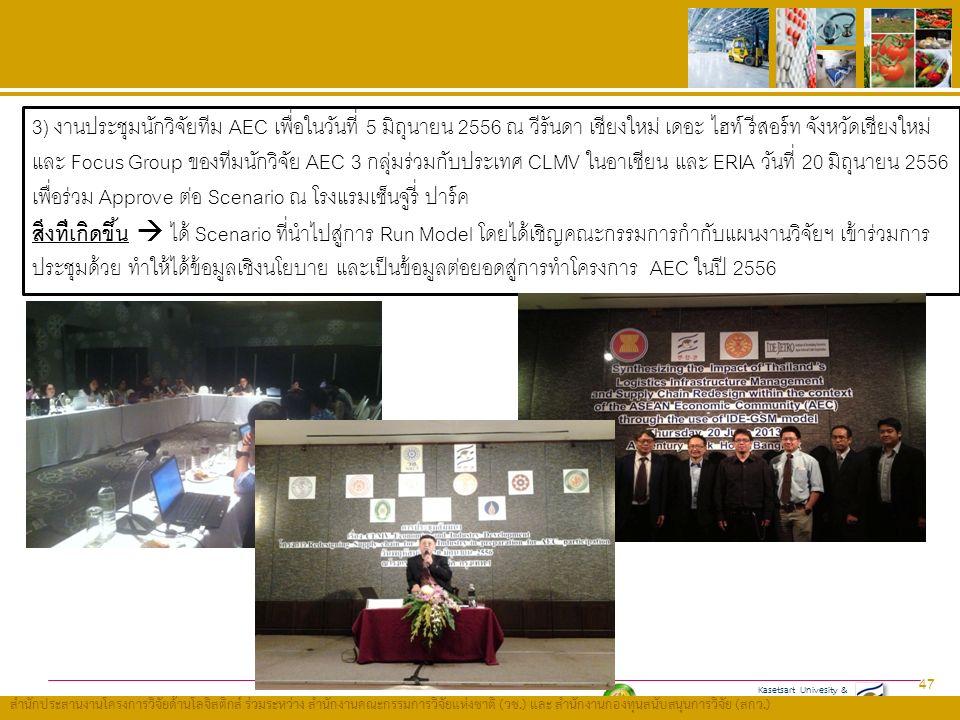 Kasetsart Univesity & Thailand Research Fund (TRF) สำนักประสานงานโครงการวิจัยด้านโลจิสติกส์ ร่วมระหว่าง สำนักงานคณะกรรมการวิจัยแห่งชาติ ( วช.) และ สำนักงานกองทุนสนับสนุนการวิจัย ( สกว.) 47 3) งานประชุมนักวิจัยทีม AEC เพื่อในวันที่ 5 มิถุนายน 2556 ณ วีรันดา เชียงใหม่ เดอะ ไฮท์ รีสอร์ท จังหวัดเชียงใหม่ และ Focus Group ของทีมนักวิจัย AEC 3 กลุ่มร่วมกับประเทศ CLMV ในอาเซียน และ ERIA วันที่ 20 มิถุนายน 2556 เพื่อร่วม Approve ต่อ Scenario ณ โรงแรมเซ็นจูรี่ ปาร์ค สิ่งที่เกิดขึ้น  ได้ Scenario ที่นำไปสู่การ Run Model โดยได้เชิญคณะกรรมการกำกับแผนงานวิจัยฯ เข้าร่วมการ ประชุมด้วย ทำให้ได้ข้อมูลเชิงนโยบาย และเป็นข้อมูลต่อยอดสู่การทำโครงการ AEC ในปี 2556
