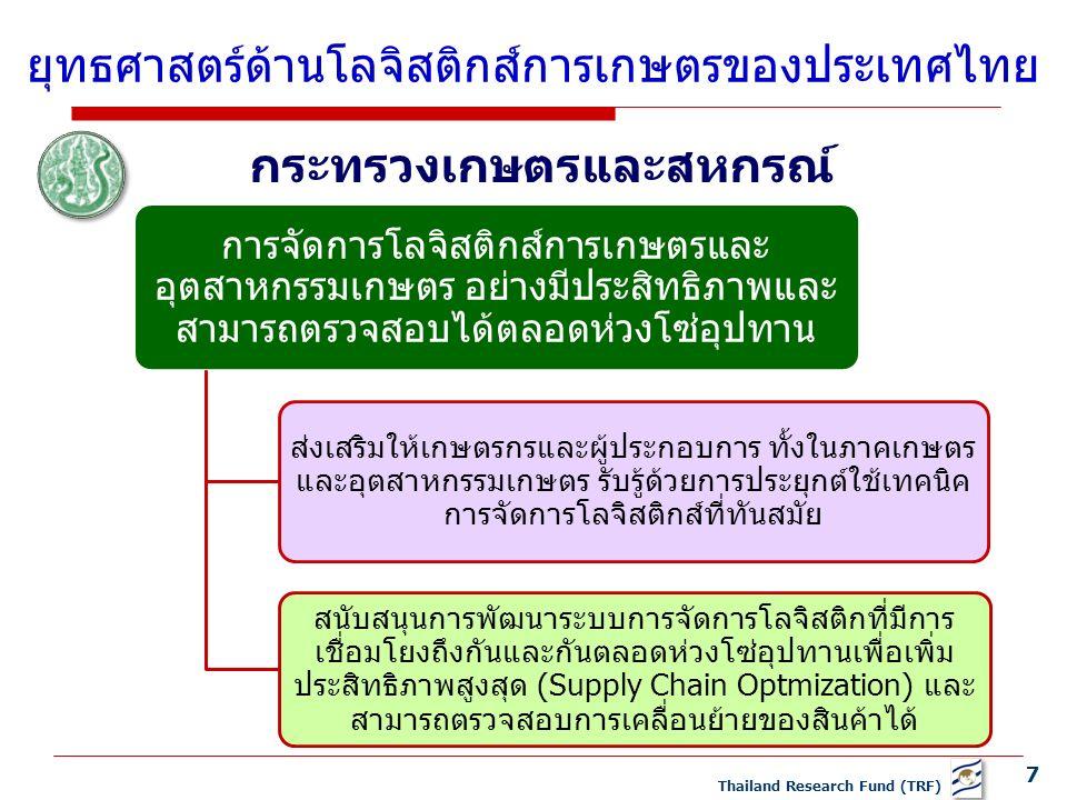 7 Thailand Research Fund (TRF) ยุทธศาสตร์ด้านโลจิสติกส์การเกษตรของประเทศไทย การจัดการโลจิสติกส์การเกษตรและ อุตสาหกรรมเกษตร อย่างมีประสิทธิภาพและ สามารถตรวจสอบได้ตลอดห่วงโซ่อุปทาน ส่งเสริมให้เกษตรกรและผู้ประกอบการ ทั้งในภาคเกษตร และอุตสาหกรรมเกษตร รับรู้ด้วยการประยุกต์ใช้เทคนิค การจัดการโลจิสติกส์ที่ทันสมัย สนับสนุนการพัฒนาระบบการจัดการโลจิสติกที่มีการ เชื่อมโยงถึงกันและกันตลอดห่วงโซ่อุปทานเพื่อเพิ่ม ประสิทธิภาพสูงสุด (Supply Chain Optmization) และ สามารถตรวจสอบการเคลื่อนย้ายของสินค้าได้ กระทรวงเกษตรและสหกรณ์
