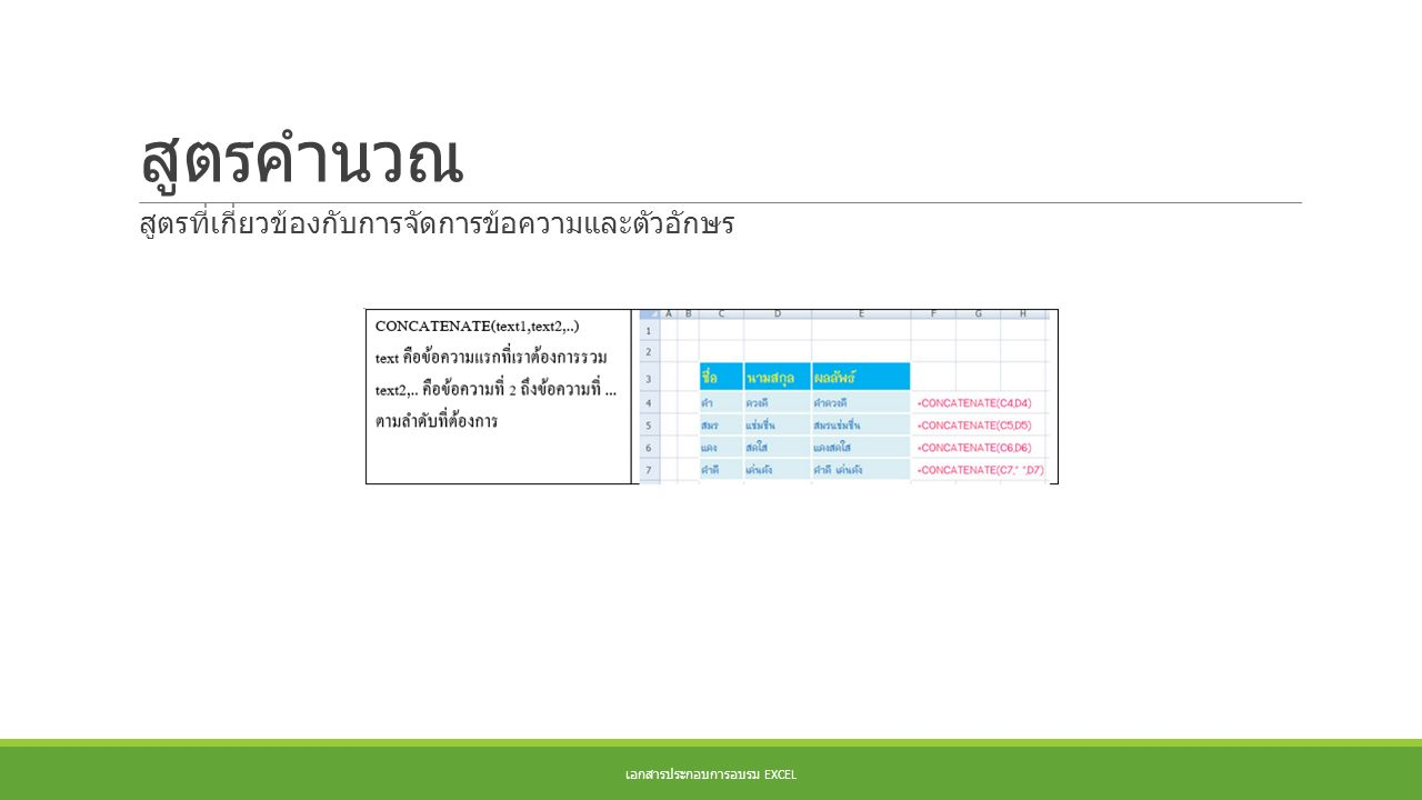 สูตรคำนวณ เอกสารประกอบการอบรม EXCEL สูตรที่เกี่ยวข้องกับการจัดการข้อความและตัวอักษร