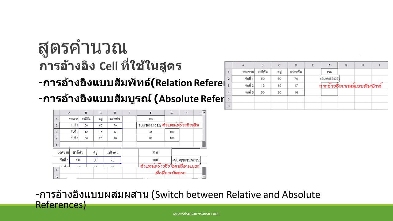 สูตรคำนวณ การอ้างอิง Cell ที่ใช้ในสูตร - การอ้างอิงแบบสัมพัทธ์ (Relation References) - การอ้างอิงแบบสัมบูรณ์ (Absolute References) - การอ้างอิงแบบผสมผ