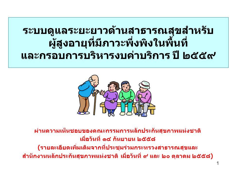 ระบบดูแลระยะยาวด้านสาธารณสุขสำหรับ ผู้สูงอายุที่มีภาวะพึ่งพิงในพื้นที่ และกรอบการบริหารงบค่าบริการ ปี ๒๕๕๙ ผ่านความเห็นชอบของคณะกรรมการหลักประกันสุขภาพแห่งชาติ เมื่อวันที่ ๑๔ กันยายน ๒๕๕๘ (รายละเอียดเพิ่มเติมจากที่ประชุมร่วมกระทรวงสาธารณสุขและ สำนักงานหลักประกันสุขภาพแห่งชาติ เมื่อวันที่ ๙ และ ๒๐ ตุลาคม ๒๕๕๘) 1