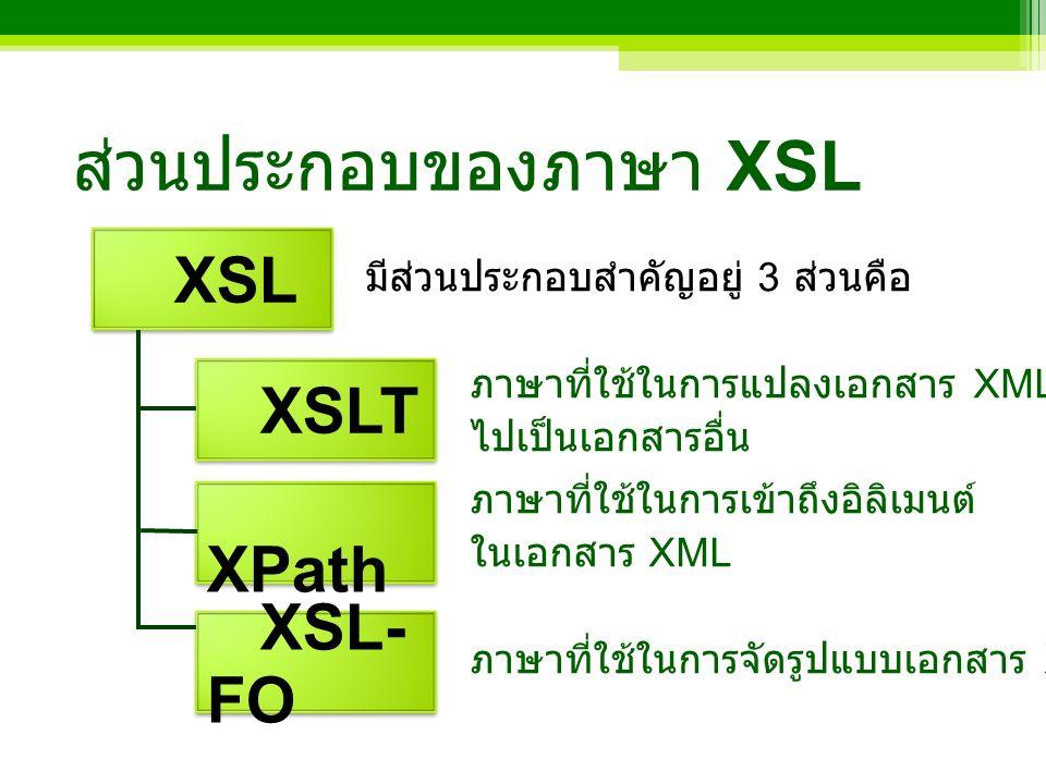 XSLT คืออะไร เป็นคำย่อของ Extensible Stylesheet Language Transformations เป็นเทคนิคมาตรฐานที่ W3C สนับสนุนให้ใช้ในการแปลงเอกสาร XML เป็นภาษาสำหรับการแปลงเอกสาร XML ไปเป็นเอกสารอื่น ( หรือเป็นเอกสาร XML แต่เปลี่ยนรูปแบบ )