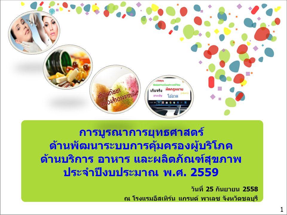 การบูรณาการยุทธศาสตร์ ด้านพัฒนาระบบการคุ้มครองผู้บริโภค ด้านบริการ อาหาร และผลิตภัณฑ์สุขภาพ ประจำปีงบประมาณ พ.ศ. 2559 วันที่ 25 กันยายน 2558 ณ โรงแรมอ