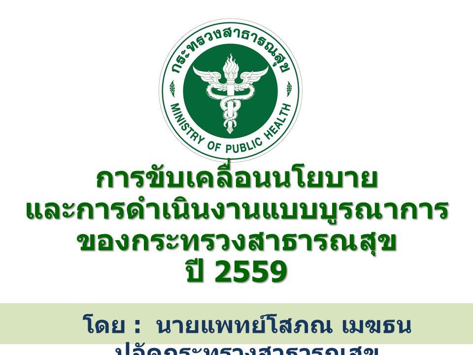 การขับเคลื่อนนโยบาย และการดำเนินงานแบบบูรณาการ ของกระทรวงสาธารณสุข ปี 2559 โดย : นายแพทย์โสภณ เมฆธน ปลัดกระทรวงสาธารณสุข