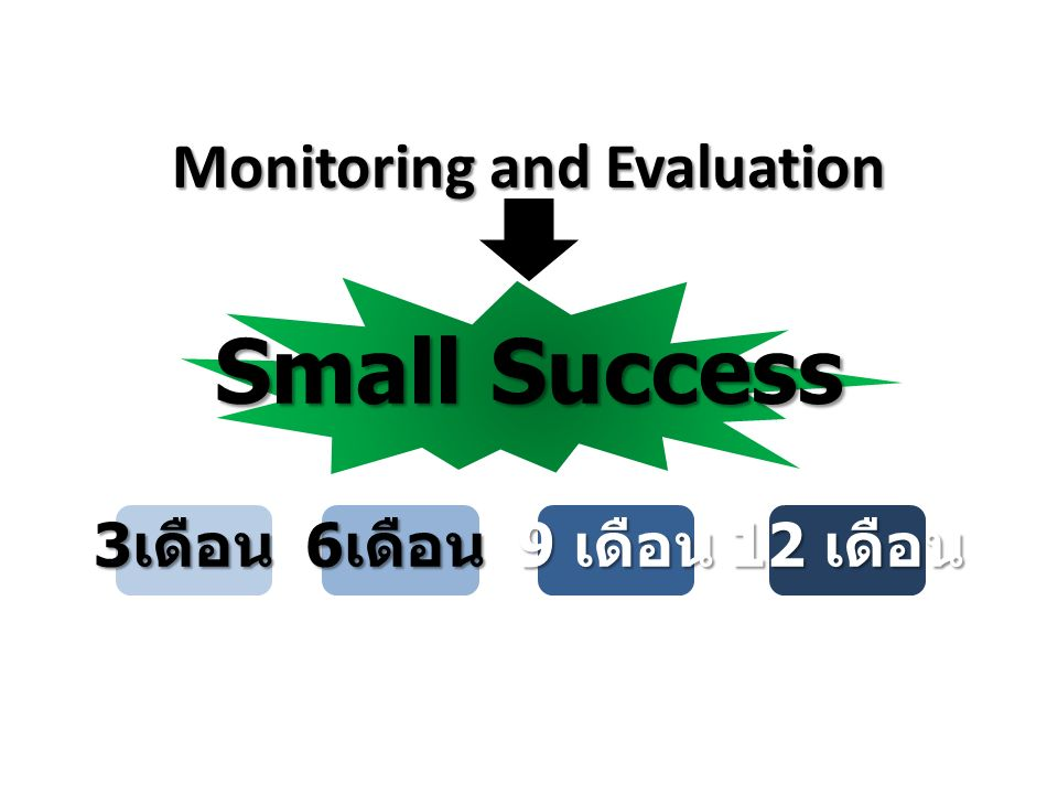 Monitoring and Evaluation Small Success 3 เดือน 6 เดือน 9 เดือน 12 เดือน