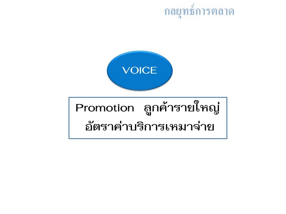 กลยุทธ์การตลาด Promotion ลูกค้ารายใหญ่ อัตราค่าบริการเหมาจ่าย VOICE
