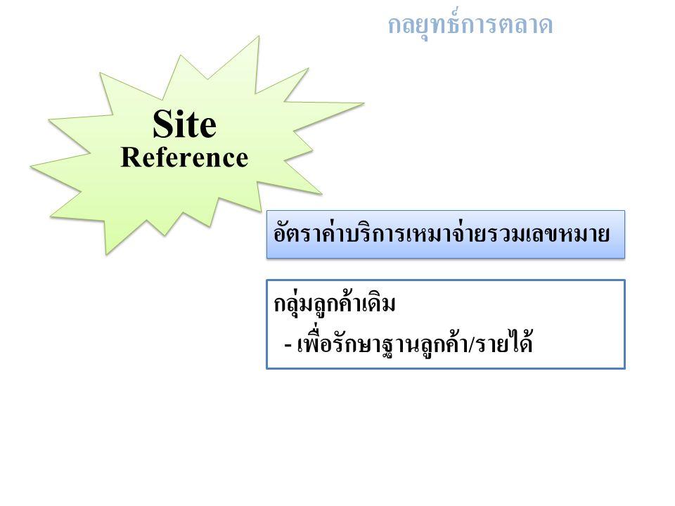 กลยุทธ์การตลาด Site Reference อัตราค่าบริการเหมาจ่ายรวมเลขหมาย กลุ่มลูกค้าเดิม - เพื่อรักษาฐานลูกค้า/รายได้