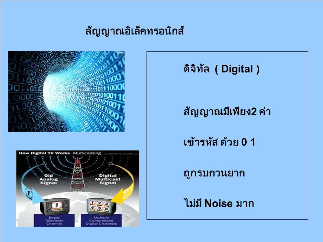สัญญาณอิเล็คทรอนิกส์ ดิจิทัล ( Digital ) สัญญาณมีเพียง 2 ค่า เข้ารหัส ด้วย 0 1 ถูกรบกวนยาก ไม่มี Noise มาก