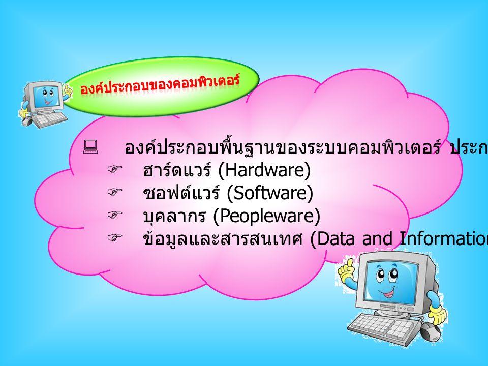  องค์ประกอบพื้นฐานของระบบคอมพิวเตอร์ ประกอบด้วย  ฮาร์ดแวร์ (Hardware)  ซอฟต์แวร์ (Software)  บุคลากร (Peopleware)  ข้อมูลและสารสนเทศ (Data and In