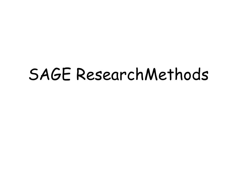SAGE ResearchMethods
