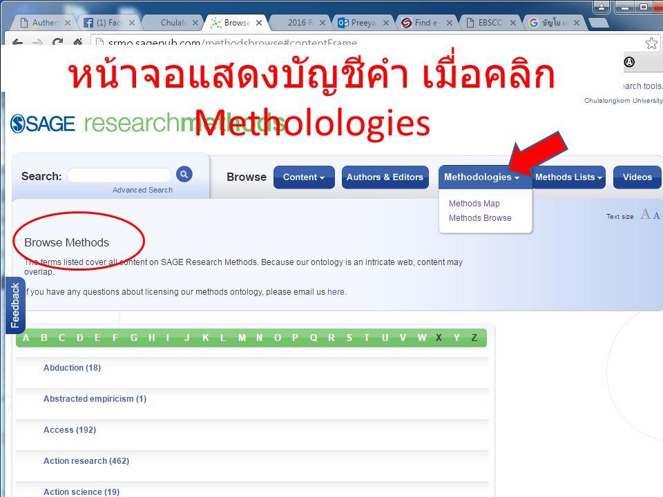 หน้าจอแสดงบัญชีคำ เมื่อคลิก Metholologies